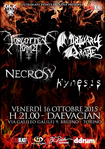 Forgotten Tomb, Mortuary Drape, Necrosy, Kynesis - Torino 16/10/15 1 - fanzine
